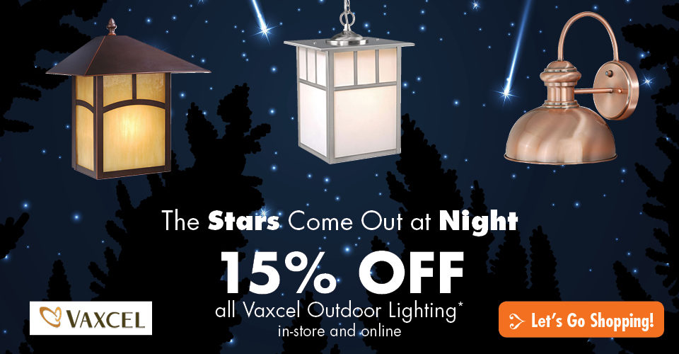 The Stars Come Out at Night! Save on All Vaxcel Outdoor Lighting
